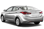 Rear three quarter view of a 2013 Hyundai Elantra GLS