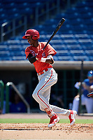 Philadelphia Phillies designated hitter Carlos De La Cruz (53) follows through on a swing during a Florida Instructional League game against the Toronto Blue Jays on September 24, 2018 at Spectrum Field in Clearwater, Florida.  (Mike Janes/Four Seam Images)