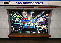 Signs at Oxford Circus Underground entrances have been transformed into Sony PlayStation Symbols and several Tube stations have been renamed for 48 hoursto mark the launch of the new PS5. London November 19th 2020<br /> <br /> Photo by Keith Mayhew