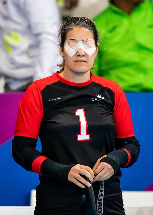 Maryam Salehizadeh, Lima 2019 - Goalball.<br /> Maryam Salehizadeh competes in women's Goalball // Maryam Salehizadeh participe en goalball féminin. 28/08/2019.
