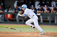 North Carolina Tar Heels center fielder/right fielder Brandon Riley (1) runs to first base during a game against the Pittsburgh Panthers at Boshamer Stadium on March 17, 2018 in Chapel Hill, North Carolina. The Tar Heels defeated the Panthers 4-0. (Tony Farlow/Four Seam Images)