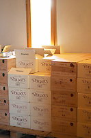 Cartons and boxes of wine in the winery Domaine Vignoble des Verdots Conne de Labarde Bergerac Dordogne France