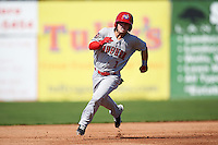 Auburn Doubledays second baseman Dalton Dulin (1) running the bases during the first game of a doubleheader against the Batavia Muckdogs on September 4, 2016 at Dwyer Stadium in Batavia, New York.  Batavia defeated Auburn 1-0 in a continuation of a game started on August 13. (Mike Janes/Four Seam Images)
