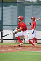 GCL Phillies West Sal Gozzo (4) bats during a Gulf Coast League game against the GCL Yankees East on August 3, 2019 at the Carpenter Complex in Clearwater, Florida.  The GCL Phillies West defeated the GCL Yankees East 15-7 in a completion of a game that was originally started on July 26, 2019.  (Mike Janes/Four Seam Images)
