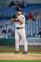 Scranton/Wilkes-Barre RailRiders relief pitcher J.P. Feyereisen (37) gets ready to deliver a pitch during a game against the Syracuse Chiefs on June 14, 2018 at NBT Bank Stadium in Syracuse, New York.  Scranton/Wilkes-Barre defeated Syracuse 9-5.  (Mike Janes/Four Seam Images)