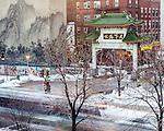 The Chinatown Gate in Boston, Massachusetts, USA