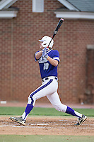 Ryan Mason (20) of the High Point Panthers follows through on his swing against the NJIT Highlanders during game two of a double-header at Williard Stadium on February 18, 2017 in High Point, North Carolina.  The Highlanders defeated the Panthers 4-2.  (Brian Westerholt/Four Seam Images)