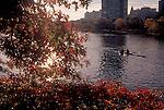 Boston, Men rowing double racing shell, sunrise, Charles River, Boston University in the background, Massachusetts, New England, USA, North America,