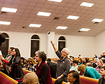 February 10, 2017. Raleigh, North Carolina.<br /> <br /> Elena Ceberio shows her support for Lisa Sharon Harper's comments at a pre-HKONJ service at Rush Metropolitan A.M.E. Zion Church.<br /> <br /> On the evening before the annual HKONJ People's Assembly, a civil rights march tied to the Moral Monday movement, religious leaders from around the country gathered at Rush Metropolitan A.M.E. Zion Church to rally their supporters and speak out against nationwide attacks on civil rights and the Trump administration.<br /> <br /> Jeremy M. Lange for The New York Times