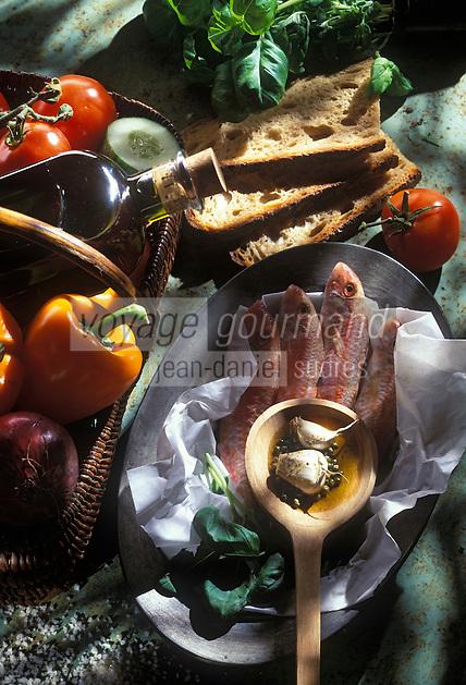 Gastronomie générale / Cuisine générale : Gaspacho aux filets de rougets barbets- Ingrédients crus