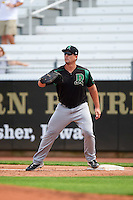 Dayton Dragons first baseman James Vasquez (25) waits for a throw during a game against the Cedar Rapids Kernels on July 24, 2016 at Perfect Game Field in Cedar Rapids, Iowa.  Cedar Rapids defeated Dayton 10-6.  (Mike Janes/Four Seam Images)