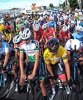 Riders wait for the start of stage five of the NZ Cycle Classic UCI Oceania Tour in Masterton, New Zealand on Tuesday, 26 January 2017. Photo: Dave Lintott / lintottphoto.co.nz