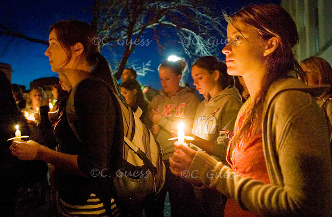 University of Wisconsin-Madison sophomore Bridget Connelly takes part in a moment of silence at a candlelight vigil for the victims of the shooting on the Virginia Tech campus. The vigil took place on Monday, April 23, 2007, on Library Mall on the campus of UW-Madison, one week after 32 people were killed in a massacre by a student who then committed suicide.