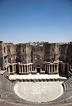 The Bosra Amphitheatre one of the best preserved Roman theatres in existence located 145 kilometres south of Damascus.