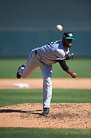 Salt River Rafters relief pitcher Antonio Santos (45), of the Colorado Rockies organization, during the Arizona Fall League Championship Game against the Surprise Saguaros on October 26, 2019 at Salt River Fields at Talking Stick in Scottsdale, Arizona. The Rafters defeated the Saguaros 5-1. (Zachary Lucy/Four Seam Images)