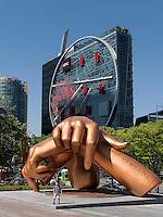 Haus Tangente von Daniel Libeskind in Gangnam und Denkmal Gang nam Style, Seoul, Südkorea, Asien<br /> House Tangente by Daniel Libeskind in Gangnam and monument Gang nam Style, Seoul, South Korea, Asia