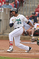 Cedar Rapids Kernels right fielder Jaylin Davis (24) swings during a game against the Beloit Snappers at Veterans Memorial Stadium on April 9, 2017 in Cedar Rapids, Iowa.  The Kernels won 6-1.  (Dennis Hubbard/Four Seam Images)