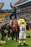 Boston College Eagles cheerleader and mascot celebrate after a score. The Boston College Eagles defeated the Pitt Panthers 26-19 in the football game played at Heinz Field, Pittsburgh Pennsylvania on November 30, 2019.