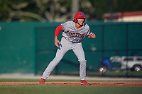 Clearwater Threshers first baseman Alec Bohm (40) leads off first base during a Florida State League game against the Dunedin Blue Jays on May 11, 2019 at Jack Russell Memorial Stadium in Clearwater, Florida.  Clearwater defeated Dunedin 9-3.  (Mike Janes/Four Seam Images)