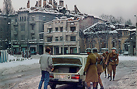 "ROMANIA, Stirbei Voda Street., Bucharest, December 1989.Soldiers are controlling a car. Ceausescu's regime has falled down but the fights again the ""terrorists"" continues..© Andrei Pandele / EST&OST"
