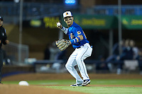 Durham Bulls third baseman Andrew Velazquez (11) on defense against the Gwinnett Braves at Durham Bulls Athletic Park on April 20, 2019 in Durham, North Carolina. The Bulls defeated the Braves 3-2 in game two of a double-header. (Brian Westerholt/Four Seam Images)