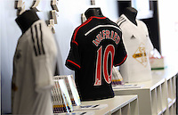 Pictured: A Wilfried Bony away shirt. Saturday 21 June 2014<br /> Re: Launch of the new home and away kit for Swansea City Football Club at the Liberty Stadium, south Wales.