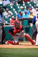 Pawtucket Red Sox catcher Oscar Hernandez (7) during a game against the Buffalo Bisons on June 28, 2018 at Coca-Cola Field in Buffalo, New York.  Buffalo defeated Pawtucket 8-1.  (Mike Janes/Four Seam Images)