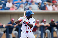Bryan Ramos (10) of the Kannapolis Cannon Ballers at bat against the Carolina Mudcats at Atrium Health Ballpark on June 13, 2021 in Kannapolis, North Carolina. (Brian Westerholt/Four Seam Images)