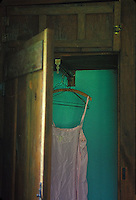Woman's pink nightgown hanging in green closet&#xA;<br />