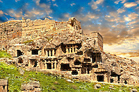 Tlos acropolis and Lycian house and temple-type rock-cut tombs. Tlos is where the mythological hero Bellerophon winged flying horse Pegasus lived. Anatolia, Turkey