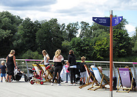 People enjoy the warm Sunday afternoon at Rushden Lakes Shopping and Leisure complex near Northampton, UK on Sunday July 26th 2020<br /> <br /> Photo by Keith Mayhew
