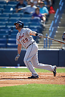 Detroit Tigers right fielder J.D. Martinez (28) at bat during a Spring Training game against the New York Yankees on March 2, 2016 at George M. Steinbrenner Field in Tampa, Florida.  New York defeated Detroit 10-9.  (Mike Janes/Four Seam Images)