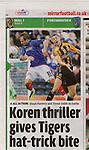 Sundy Mirror - Sport.Hull City v Portsmouth.Page 13 Football supplement.18th September 2011