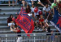 Boyds, MD - Saturday July 02, 2016: Spirit fans during a regular season National Women's Soccer League (NWSL) match between the Washington Spirit and FC Kansas City at Maureen Hendricks Field, Maryland SoccerPlex.