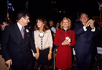 Montreal (QC) CANADA, October  1995 - File Photo -<br /> Lucien Bouchard and wife Audrey Best,<br /> Lizette Lapointe,wife of <br /> Parti Quebecois (PQ) Leader Jacques Parizeau during the 1995 Referendum campaign.<br /> <br /> Photo by Pierre Roussel / Images Distribution