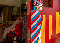 Streets in Mandaluyong, Manila, Philippines Barber Shop,