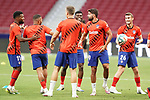 Atletico de Madrid's Thomas Lemar, Renan Lodi, Ivan Saponjic, Thomas Partey, Diego Costa and Alvaro Garcia training before La Liga match. July 3,2020. (ALTERPHOTOS/Acero)