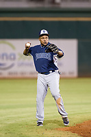 AZL Padres shortstop Erick Aybar (8) on defense during a rehab start against the AZL Indians on August 30, 2017 at Goodyear Ball Park in Goodyear, Arizona. AZL Padres defeated the AZL Indians 7-6. (Zachary Lucy/Four Seam Images)