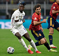 Paul Pogba of France and Mikel Oyarzabal of Spain during the Uefa Nations League final football match between Spain and France at San Siro stadium in Milano (Italy), October 10th, 2021. Photo Andrea Staccioli / Insidefoto