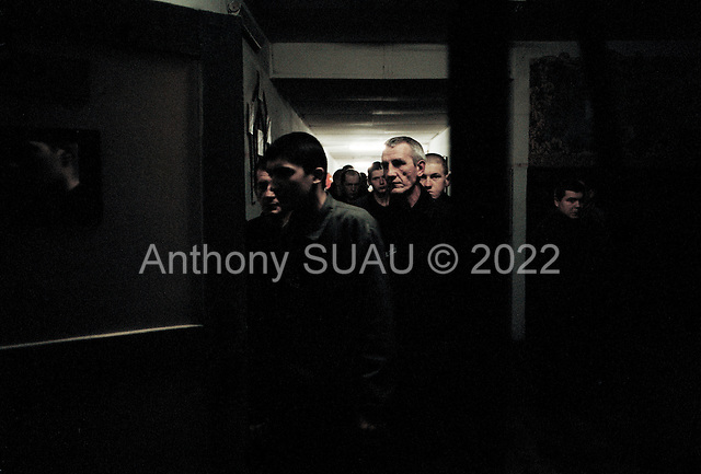 Nizhniy Novogrod, Russia..TB prisoners are moved from their cells to dinner: a  bowl of soup, and a piece of bread.