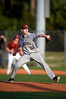 Minnesota Golden Gophers relief pitcher Patrick Fredrickson (22) delivers a pitch during a game against the Boston College Eagles on February 23, 2018 at North Charlotte Regional Park in Port Charlotte, Florida.  Minnesota defeated Boston College 14-1.  (Mike Janes/Four Seam Images)