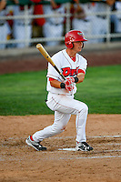 Sam McDonnell (7) of the Orem Owlz at bat against the Grand Junction Rockies in Pioneer League action at Home of the Owlz on July 6, 2016 in Orem, Utah. The Owlz defeated the Rockies 9-1 in Game 1 of the double header.  (Stephen Smith/Four Seam Images)