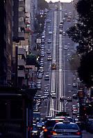 San Francisco, California.  California Street Cable Car Rails in Evening Sunset.