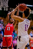 26 January 2019: Stony Brook Seawolves Guard Jerell Matthews, a Senior from Chicago, IL, guards against University of Vermont Catamount Candice Wright during play at Patrick Gymnasium in Burlington, Vermont. The Lady Seawolves defeated the Lady Catamounts 67-61 in America East Women's Basketball. Mandatory Credit: Ed Wolfstein Photo *** RAW (NEF) Image File Available ***