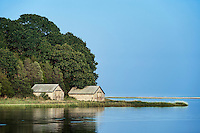 Boathouse on salt pond, Nauset Marsh, Eastham, Cape Cod, Massachusetts, USA