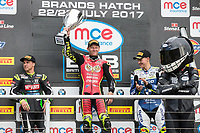 Shane Byrne of the Be Wiser Ducati team (centre) celebrates victory in Race Two and securing a double win in the 2017 BSB Round 6 - Brands Hatch GP Circuit at Brands Hatch, Longfield, England on Sunday 23 July 2017. Photo by David Horn/PRiME Media Images