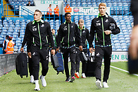 LEEDS, ENGLAND - AUGUST 31: (L-R) Connor Roberts, Jordan Garrick and Jay Fulton of Swansea City arrive prior to the game during the Sky Bet Championship match between Leeds United and Swansea City at Elland Road on August 31, 2019 in Leeds, England. (Photo by Athena Pictures/Getty Images)