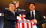 Atletico de Madrid's new coach Abel Resino with the president Enrique Cerezo during his presentation.