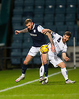 29th December 2020; Dens Park, Dundee, Scotland; Scottish Championship Football, Dundee FC versus Alloa Athletic; Christie Elliott of Dundee challenges for the ball with Liam Buchanan of Alloa Athletic