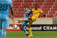 HARRISON, NJ - MARCH 11: Ronald Matarrita #22 of NYCFC battles for the ball with Luis Quinones #23 of Tigres UANL during a game between Tigres UANL and NYCFC at Red Bull Arena on March 11, 2020 in Harrison, New Jersey.